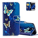 Coque Samsung Galaxy S7 Edge Bleu, Aeeque Luxe Papillon Bleu Or Motif Housse Galaxy S7 Edge en Cuir PU Etui a Rabatable Antichoc Integrale Protection Portefeuille Rigide pour Samsung S7 Edge 5.5'