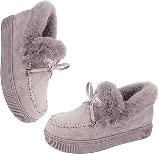 AIKY Botas Planas de Moda Casual | Calzado de Nieve para Mujer | Zapatos cómodos y duraderos de Felpa Gruesa para el Invierno