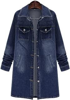 QZUnique Women Long Denim Jacket Casual Loose Long Sleeve Jean Jacket Plus Size Ladies Denim Coat Outwear