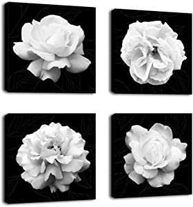 Flowers Wall Art Bathroom Wall Decor Abstract Botanical Picture Contemporary Wall Art Prints Bedroom Living Room Kitchen Office Home Decor Modern Black Flower Canvas Artwork 12