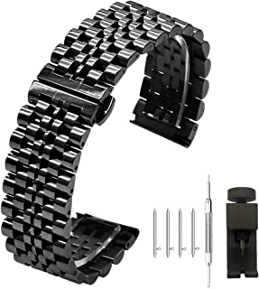 4 Colors for 7 Rows 20mm 22mm Stainless Steel Watch Band Quick Release Bracelet Metal Straps Deployment Clasp for Men Ladies (Black,Silver,Gold,Rose Gold)
