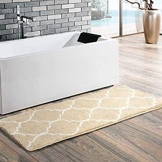 Uphome Moroccan Trellis Extra Long Bathroom Rug, Microfiber Washable Non-Slip Soft Quatrefoil Tufted Decorative Bath Runner Kitchen Floor Mat Carpet (18