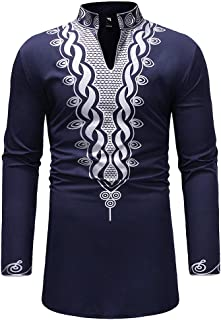 Men T-Shirt, Mens Casual Slim Fit African Print Dashiki Shirt Floral Tribal Festival Blouse Tops
