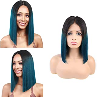 SingleBest Lace Front Wig Ombre Human Hair Brazilian Virgin Remy Hair Glueless Bob Wigs For Women (10 inches, 1B/Blue)