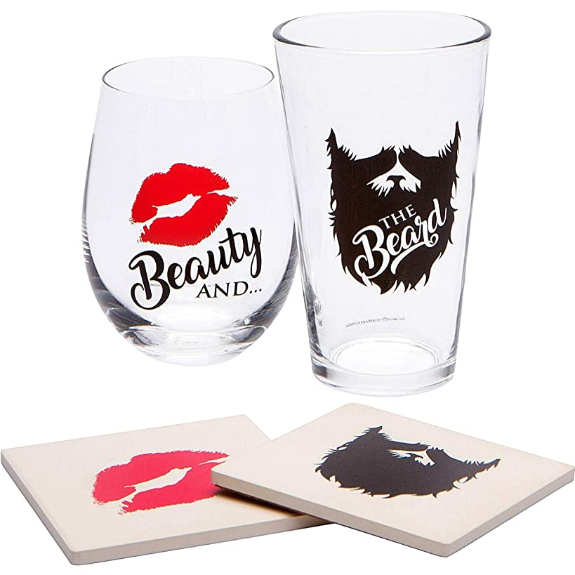 Beauty and The Beard Gifts Set - Funny Novelty Wine + Pint Beer Large Glasses & His Hers Drink Coasters | Cool Ideas for Bride Groom Couples On Wedding, Anniversary, Engagement Party, Bridal Shower