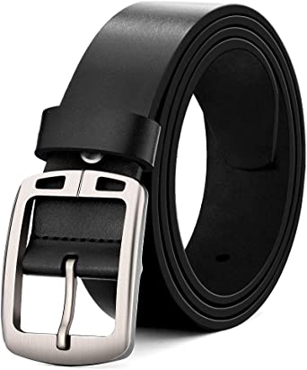 MUCO Leather Belt Black, Man's Pin Buckle Durable Genuine Leather Belts Fit to the Suit Trousers Jeans For Man