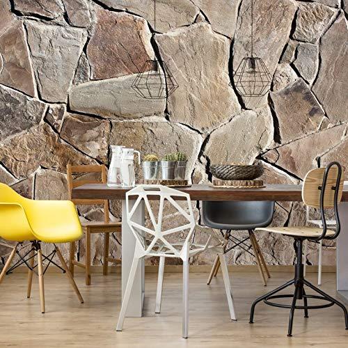 Fototapete Mediterrane Mauer Stein Steinoptik Vlies Tapete Wall-Art - 384x260 cm