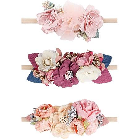 3Pcs Baby Girl Elastic Flower Headband Garland Hair Band Wreath Props LC
