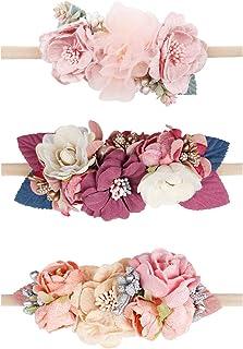 Baby Girl Floral Headbands Set - 3pcs Flower Headbands...