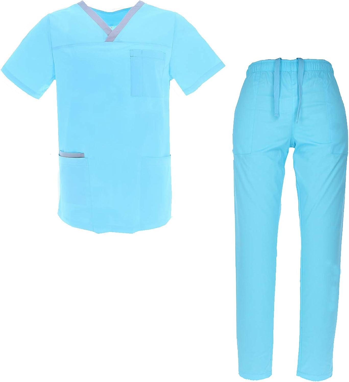 Uniformi Unisex Set Camice Ref.8178 Uniforme Medica con Maglia e Pantaloni Uniformi Mediche Camice Uniformi sanitarie MISEMIYA