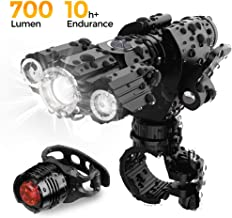 Sonicer Bike Light Waterproof USB Rechargeable Bike Light Set, 500 Lumens Super Bright Headlight Front Lights and Back Rear LED, 4 Light Modes Fit All Bicycles Mountain Road Bike