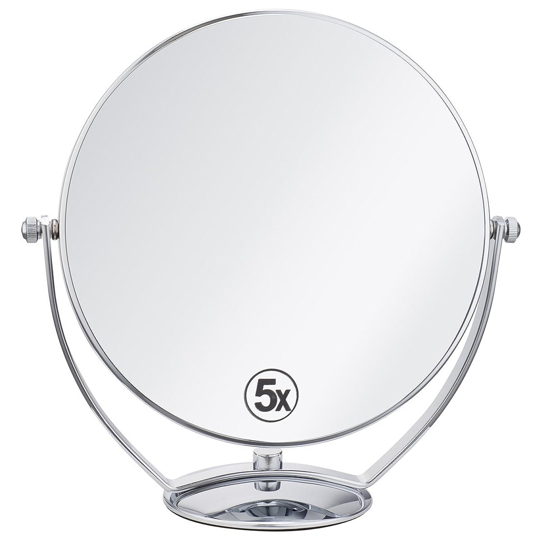 常識カップ神(セーディコ)Cerdeco 西洋風鏡 真実の両面鏡DX 5倍拡大鏡+等倍鏡 両面化粧鏡 360度回転 卓上鏡 スタンドミラー メイク道具 大きい鏡面φ198mm j823