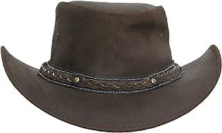 Mens Vintage Black and Brown Wide Brim Cowboy Aussie Style Western Bush Hat