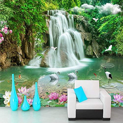 WLA3D Fototapete 3D Effekt Natürliche Landschaft Wald Wasserfälle Pools Landschaft 300X210Cm Moderne Tapete Wandaufkleber Wandtapete Wandbild Wandtattoo Klebefolie Dekorfolie Wanddeko
