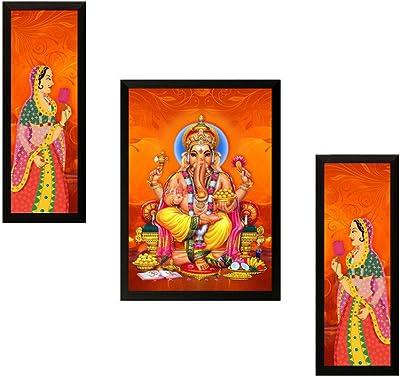 SAF UV Textured Ganesh Print Framed Painting Set of 3 for Home Decoration – Size 35 x 2 x 50 cm SANFSAA7523
