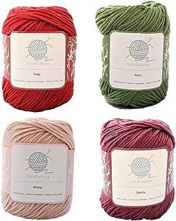 Flora mindfulknits Hilo de tejer, hilo de ganchillo y hilo de algodón 100% para tejer, crochet, hilo de estambre suave y d...
