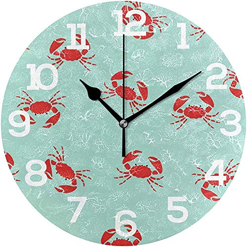 Caonm Wanduhr Rote Krabben auf blauem Hintergrund Runde Acryluhr Stille Nicht tickende Uhr
