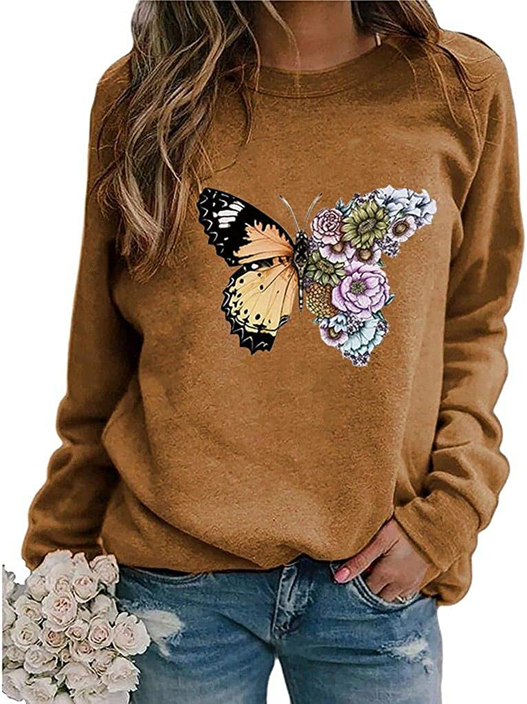 POLLYANNA KEONG Long Sleeve Blouses for Women,Women's Cute Graphic Long Sleeve Crewneck Sweatshirts Tops Tunic Blouses