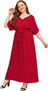 Milumia Women's Plus Size Self Tie Belted Button Front Batwing Short Sleeve Long Maxi Flared Dress