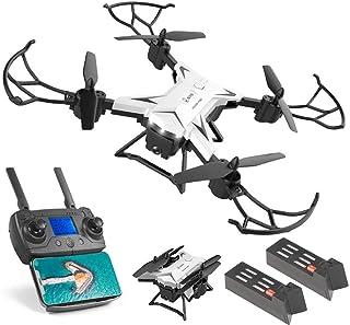 TwoCC DroneKy601G Nuevo Avión Gps Drone con Cámara 4K Hd 5G Wifi Fpv Rc Quadcopter Drone Plegable Posicionamiento Inteligente Gps+Lente 4KDual Batería 1800Mah(Blanco)