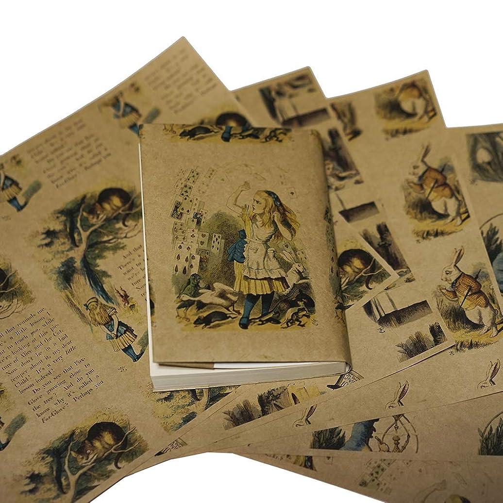 規定テニス水っぽい紙製ブックカバー 「不思議の国のアリス」(彩色版) (クラフト紙)