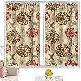 Cortinas de color beige, orientales curvo patrones de ancho 122 x largo 72 pulgadas cortinas opacas con bolsillo para barra