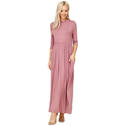 ef693fb79eb Annabelle Women s 3 4 Sleeve Long Maxi Dresses with Side Pockets