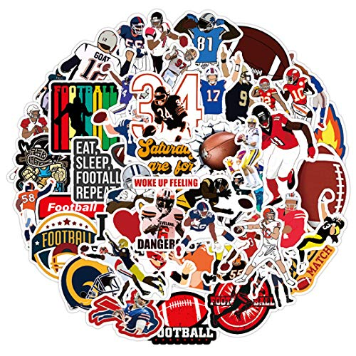 50pcs Football Decals Stickers Small Waterproof for Wall Water Bottles Ipad Helmet Scrapbooking Laptop Cars Tumblers Hydroflask Cups Boys Room, Sports Stickers Pack for Kids Boys Planners