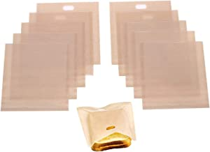 Homezal 10 Pack Non Stick Reusable Toaster Bags, Gluten Free, FDA Approved, Perfect for Sandwiches, Pastries, Pizza Slices...