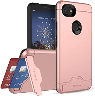 Teelevo Wallet Case for Google Pixel 3a XL, Dual Layer Case with Card Slot Holder and Kickstand for Google Pixel 3a XL (2019) - Rose Gold