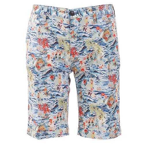 ALBERTO Slim Fit Shorts Button-Zipp-Verschluss Muster blau Größe W33