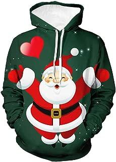 Men Hooded Sweatshirt Slim fit SFE Winter Santa Claus Snowman Printing Ultra Soft Pullover Jacket with Pocket Plus Size