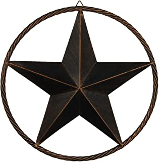 "EBEI Metal Barn Star Circle Rustic Style Decorative 24"" Vintage Texas Lone Star Dark.."