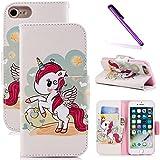 COTDINFOR iPhone 5S Funda Precioso Animales Impresión Patrón Suave PU Cuero Cierre Magnético Billetera con Tapa para Tarjetas de Cárcasa para iPhone 5S / 5 / SE Red Unicorn BF.