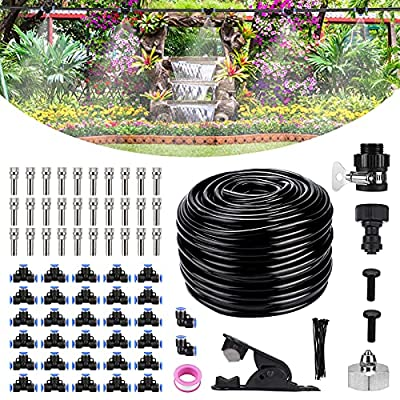 """Bearbro Misting Cooling System,Mister for Patio,59FT (18M) Misting Line DIY Outdoor Mist Cooling Kit +24 Copper Metal Mist Nozzles +20 Tube Ties + a Connector(3/4"""") Great for Patio Garden Greenhouse"""