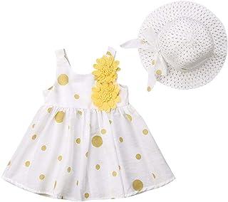 niceclould 2PCS Summer Clothes Outfit Sets Toddler Baby Girl Polka Dot Sleeveless Solid Bowknot Tutu Dress + Straw Hat Clothing