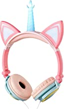 LIMSON Unicorn Headphones for Kids Tablet,Wired Over Ear Earphones School Supply Cat Headset with Flashing LED Light for Girls Boys Adults Birthday (Pink&Blue)