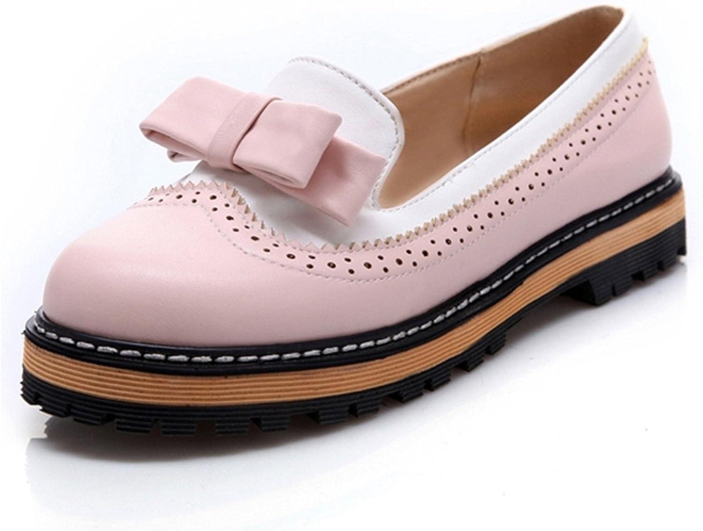 Orcan bluece Plus Size 34-43 Slip On Flat Women shoes Cute Bowtie Lace Shallow Mouth Platform shoes