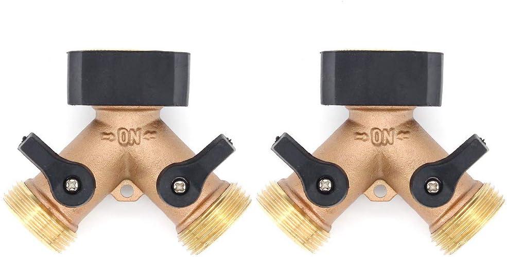 ShawFly Distribuidor en Y de 2 vías Grifo de latón, Adaptador de grifo exterior doble de 3/4 '' Conectores de manguera de riego de jardín con válvulas individuales de encendido/apagado (2)