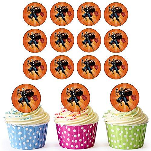 Thor Superhero Cupcake Toppers/Cake Decoraties (Pak van 24) - Easy Precut Circles
