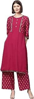 Ziyaa Women's Dark Pink Gold Print Straight Crepe Kurta With Palazzo / Salwar Suit Set