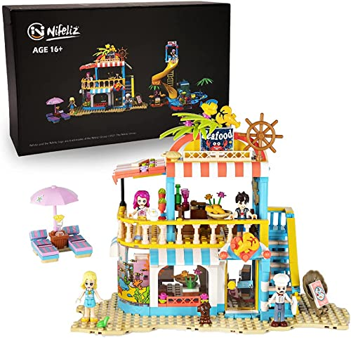new arrival Nifeliz Friends Summer Holiday outlet sale S-Girls Theme Beach Seafood Restaurant Building Kit, Comes with 4 popular Mini-Dolls a Toy Dog Figures , Gift for Girls and Adults, New 2021 (490 Pcs) online sale