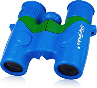 SkyGenius Binoculars for Kids, Mini Binoculars for Children, Real Optics High Resolution Kids Binoculars Boys, Small Compact Binocular for Bird Watching Outdoor Sports Event - Blue