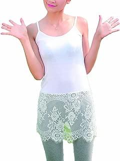 Women Lace Trim Bottom Tank Top Extender Vest Camisole Strappy Mini Dress