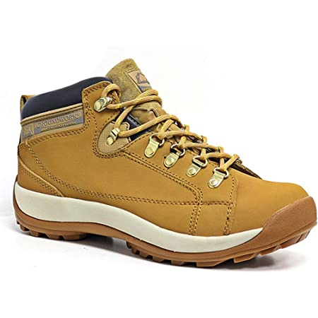 MENS GROUNDWORK LEATHER UPPERS SMART/CASUAL LACE UP STEEL TOE CAP SAFETY BOOTS (UK6, 387 Honey)