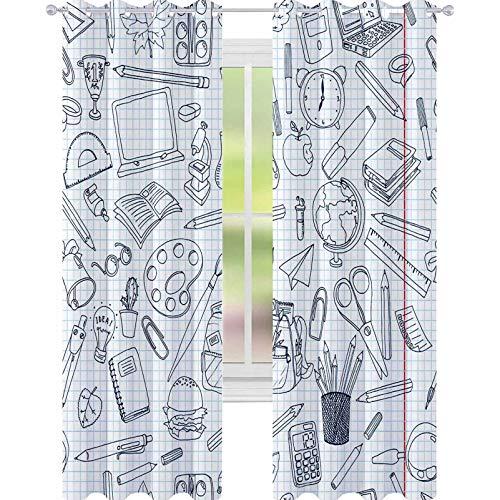 YUAZHOQI Cortina opaca con aislamiento térmico, diseño colorido de la escuela, textura sin costuras, con lápices, libros, para sala de estar, 132 x 182 cm