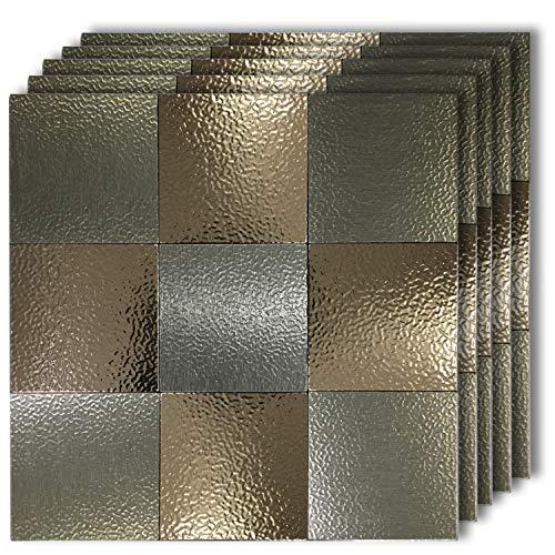 "HomeyMosaic Peel and Stick Tile Backsplash for Kitchen Wall Decor Aluminum Surface Metal Mosaic Tiles Sticker,Patterned Retro Bronze&Grey(12""x12""x 5 Sheets)"