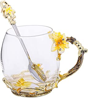Tea Cup Coffee Mug Cups, Clear Glass Coffee Cups Tea Mugs with Spoon Set Handmade Enamel Lily Flower,12 oz (Yellow Lily) Ideal for Friend Wedding Anniversary Birthday Presents …