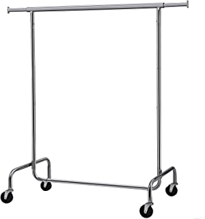 SONGMICS Clothes Garment Rack Heavy Duty Maximum Capacity 300 lb Clothing Rack on Wheels All Metal Chrome Extendable UHSR11S