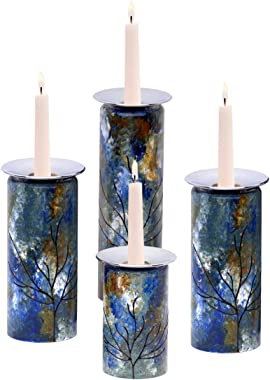 Sand and Water Creations in Glass Candle Holders Recycled Glass Pair of Two Hand Painted Blue Green Ocean Inspired Large